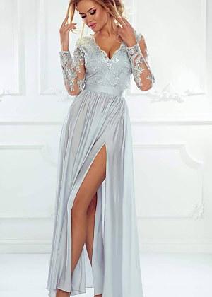 66029d40e435 Luxusné a neprehliadnuteľné šaty Maxi Luna v striebornej farbe